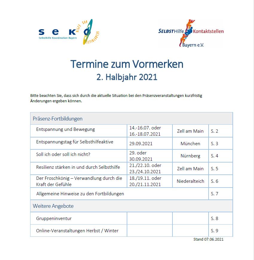 Cover SEKO Bayern - Termine 2021